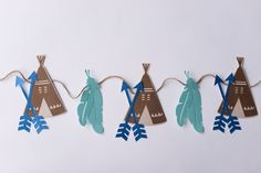 Teepee Garland - Paper Garland, Party Decor, Bridal Shower Decor, Baby Shower, Home Decor by CutPartySupplies on Etsy Indian Party, Bridal Shower Decorations, Best Part Of Me, Twine, Party Supplies, Card Stock, Paper Garlands, Place Card Holders, Baby Shower