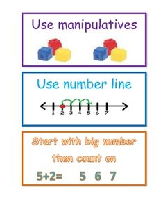 Addition Strategy cards.  I use these when talking about addition and the kids can use them as reference.