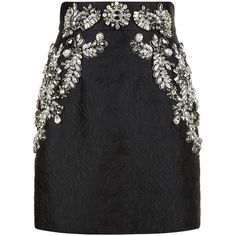 Dolce & Gabbana Crystal Embellished Skirt (£3,700) ❤ liked on Polyvore featuring skirts, bottoms, brocade skirt, floral printed skirt, flower print skirt, embellished skirt and floral print skirt