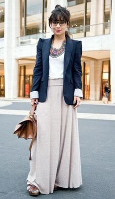 How To Wear Maxi Skirts In Winter  Outfit inspiration: khaki maxi + blue sweater dress rolled under + long grey boots