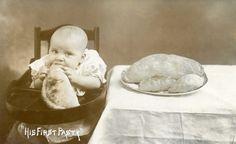 HIS FIRST PASTY | Cornwall: Vintage postcard.     ✫ღ⊰n Cornish Pasties, Bys, Empanadas, Mole, Michigan, Birth, English, Memories, History