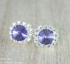 Tanazanite Swarovski crystal stud earrings #EndoraJewellery
