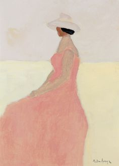 Seated Figure (1960), oil on canvasboard by Milton Avery (USA 1885-1965) - (lawrenceleemagnuson)