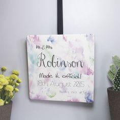 Personalised Watercolour Wedding Hanging Tile Keepsake