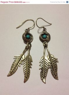 ON SALE Navajo Turquoise Sterling Earrings Shadowbox Feathers 925 Silver Blue Petit Point 40s Vintage Tribal Southwestern Jewelry Gift on Etsy, $52.20