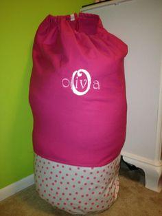 Pink Polka Dot and Initial/Name Monogram Laundry Bag - Sleep Over Bag - Duffel Bag  - Large