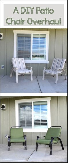 Great tutorial on doing your own DIY patio chair overhaul! Sprays Painting, Diy Patios Chairs Overhaul Jpg, Decor Your Backyards, Diy Tutorials, Outdoor Decor, Metals Chairs, Diy Stuff, Diy Projects, Backyards Gardens