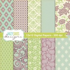 Digital Scrapbook Papers and Digital Paper by hazyskiesdesigns, $5.00