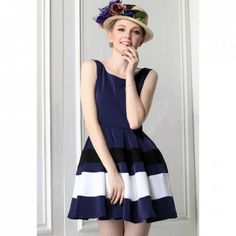 Sweet Color Matching Sleeveless Vintage Style Women's Dress (BLUE,S) | Everbuying.com