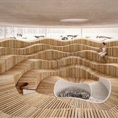Contemporary Architecture, Amazing Architecture, Interior Architecture, Parametric Architecture, Spa Design, Saunas, Spa Interior, Interior Design, 3d Max Vray