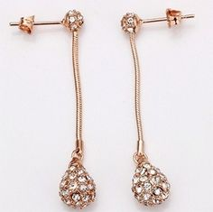 18K Gold plated Drop Crystal Earrings. $14.95. Free US & Int'l Shipping