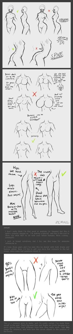 drawing the back/breasts/hips
