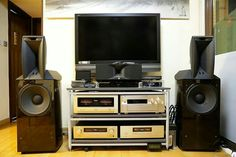 JBL Project Array 1000 horn loaded speakers driven by Accuphase electronics for music in a home theater setup.