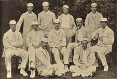 Cambridge University Cricket team of 1894 with ex Clifton RFC player Edwin Field. This was a weak Cambridge University side who had lost 5 first team bowlers. The legendary C.B.Fry was captain of the Oxford XI and the rumour was that he could only play on the leg side.