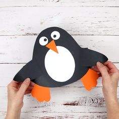 This Paper Penguin Hat Craft is really easy to make and there's a Free Printable Template too so you can dive straight into your kids craft session. This is such a cute Winter craft for kids and great to go alongside a polar region study unit or for World Winter Art Projects, Winter Crafts For Kids, Paper Crafts For Kids, Art For Kids, Arts And Crafts, Pinguin Hut, Toddler Crafts, Preschool Activities, Origami