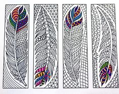 Feather Bookmarks - PDF Zentangle Coloring Page