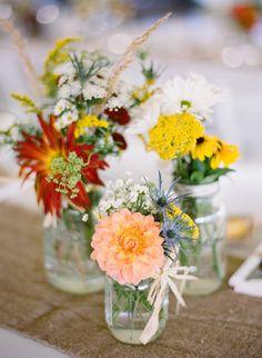 wildflowers rustic wedding centerpieces in mason jars