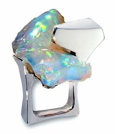Thierry Vendome ||  Iceberg ring.  white gold, opal.