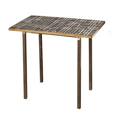 tile table, with brass frame