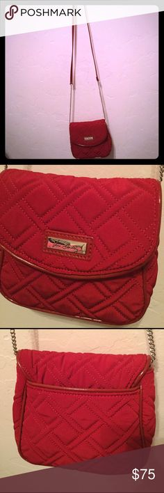 Only used it once and not really a purse person. It's a very pretty vibrant red color and the material is sort of soft silky cotton Vera Bradley Bags Crossbody Bags