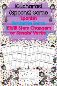 Kids race to collect all seven cards for an irregular preterite tense ER/IR stem-changer verb like dormir or morir (infinitive + all six conjugated forms) and/or not be the person left without a spoon in this fun game of Cucharas! Great way to reinforce preterite tense endings for irregular ER/IR stem-changers in an engaging and lively way!