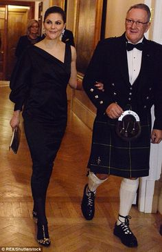 Crown Princess Victoria was escorted into the dining room by a gentleman in a kilt...