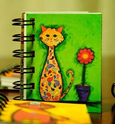 Whimsical Paisley Cat Journals  Tiny size by Etsy: HappyAbbyDesigns