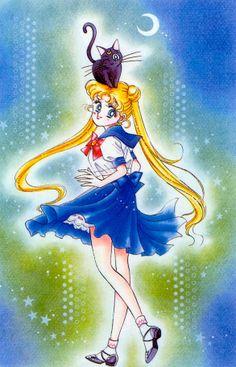Usagi and Luna; from Bishoujo Senshi Sailor Moon Original Picture Collection, Vol. I | art by Naoko Takeuchi