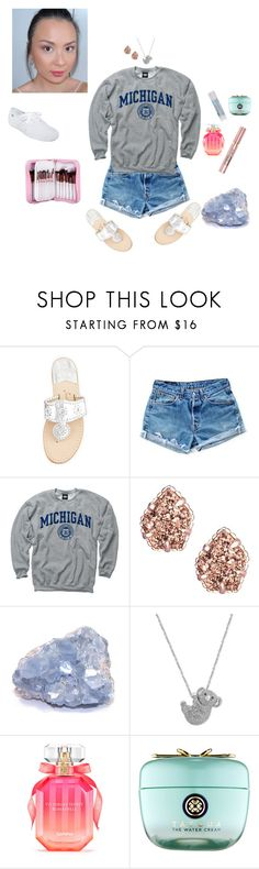 """Untitled #1237"" by mledoll ❤ liked on Polyvore featuring Jack Rogers, Levi's, New Agenda, Kendra Scott, L'Oréal Paris, Effy Jewelry, Victoria's Secret and Tatcha"