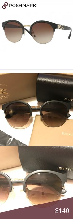 Burberry Sunglasses New. Never worn. Perfect condition. Were on display at an optometrist's office.  Name: BE4241. Color: 346413.  Matte black with light gold hardware. Classic plaid design sides. Fashionable gradient brown lenses.  Can hold prescription lenses.   Comes with case in a storage box, microfiber cleaning cloth, & signature booklet.   *** Can pick a Free With Purchase item ***  Please ask if any questions. Burberry Accessories Sunglasses