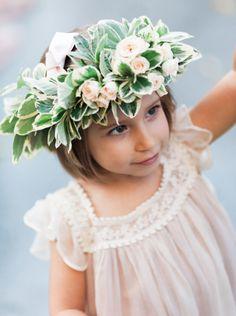 A large flower crown for the flower girl: http://www.stylemepretty.com/little-black-book-blog/2015/04/08/elegant-peach-portugal-wedding/   Photography: Branco Prata - http://www.brancoprata.com/