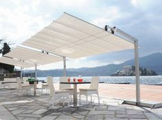 Rechteckiger Sonnenschirm aus Aluminium FLEXY SILVER by FIM