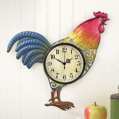 Colorful Hand Painted Metal Rooster Wall Clock Home Decor Country Rustic Battery #WallClock #Rooster #Rustic #AnalogClock #Analog #Clock  #Home #Office #Kitchen #HomeDecor #Decor #WallDecor #Wall #WallHanging