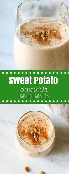 Sweet Potato Smoothie: Sip on a delicious vegan smoothie loaded with warming spices and hints of maple this smoothie tastes just like sweet potato pie!| Vegan Smoothie Recipe | Healthy Smoothie Recipe | Easy Smoothie Recipe | Dairy Free Smoothie Recipe #Smoothie #SweetPotato #Vegan