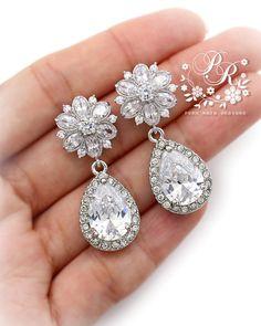 Wedding Earrings Zirconia Rhinestone dangle by PureRainDesigns, $35.00