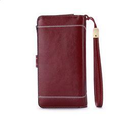 1dc5837887943 Duża pojemność Split Skóra Posiadacz karty Jakości portfel Długie kobiety  portfel Zipper Sprzęgło Casual Zipper Retro
