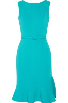 Turquoise wool-blend Concealed hook and zip fastening at back 93% wool, 5% nylon, 2% elastane; lining: 89% silk, 11% Lycra Dry clean Designer color: Cyan Made in Italy