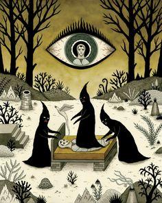 Three Shadow People Terrify a Victim During an Episode of Sleep Paralysis Art Print by Jon MacNair