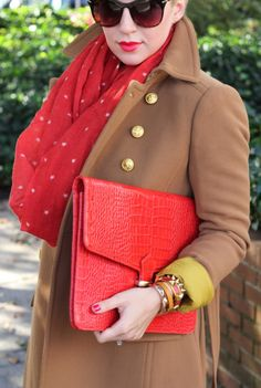 Great Type 1 look, down to the little stars on the scarf, the coral-y red, and the bright gold buttons.