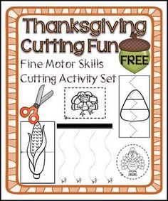 "FREE LESSON - ""Thanksgiving Cutting Activity Set – Fine Motor Skills Development"" - Go to The Best of Teacher Entrepreneurs for this and hundreds of free lessons. Pre-Kindergarten - Kindergarten    #FreeLesson    #Thanksgiving   http://www.thebestofteacherentrepreneurs.net/2015/10/free-misc-lesson-thanksgiving-cutting.html"