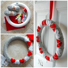 Here is a funny and straightforward Valentine's Day wreath, this year a foam wreath … - Easy Yarn Crafts Valentine Day Wreaths, Valentines Day Decorations, Valentine Day Crafts, Holiday Crafts, Valentine Stuff, Easy Yarn Crafts, Diy Crafts, Alternative Christmas Tree, Homemade Valentines