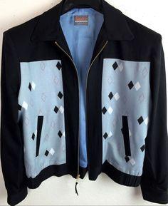 Vintage 1950 S Rockabilly Vlv 2tone Atomic Diamond Argyle Ricky Jacket To 2