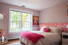 transitional bedroom | transitional bedroom by Mary Prince   I'd ditch the Warhol, but love the headboard and cork framed mirror!