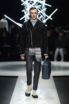 Lined raw-edge biker jacket with loden effect, striped wool pants, calfskin holdall with asymmetric zip #CanaliFW15 #mfw #menswear #moda