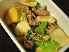 常備菜 : ミニ青梗菜とカブのハチミツ炒め(カブはあごだし醤油に漬けておいたもの)
