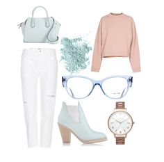 Soft pastel look with pale Miu Miu glasses from Pretavoir Miu Miu Glasses, Office Looks, Office Fashion, Preppy, Office Style, How To Wear, Pastel, Outfits, Cake