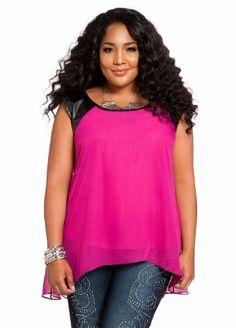 Ashley Stewart Women's Plus Size Faux Leather & Chiffon Hi-lo Top Wicked Berry 12