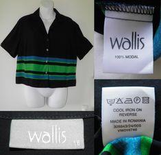 1fec686fd 1990 s Vintage 90s WALLIS Navy Blue Oversized Blouse Crop Top Womens 16 44  Festival Grunge 01.20