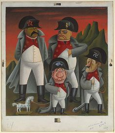 1933, Mexican Covarrubias caricature of Stalin, Mussolini, Hitler and Huey Long