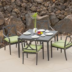 The Astoria 5 piece Cafe Dining Set in Ginkgo Green is designed to accommodate an entire summer's worth of entertainment!